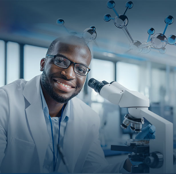 Modern Medical Research Laboratory: Portrait of Male Scientist Using Microscope